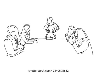 .Continuous one line drawing of company meeting with woman as a leader vector. Single minimalism sketch hand drawn concept of business meet up of people sitting make a discussion of strategy.