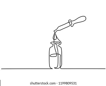 Continuous one line drawing. Cosmetic vial with pipette. Vector illustration