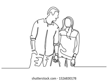 Continuous one line drawing of couple holding hands. Act of kindness theme of man and girl. Vector simpliciy design.