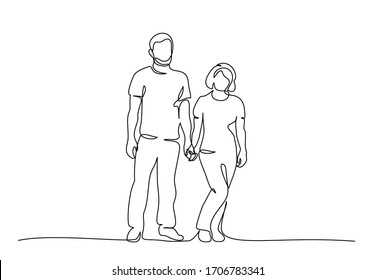 Continuous one line drawing. Couple man and woman holding hands. Vector illustration.