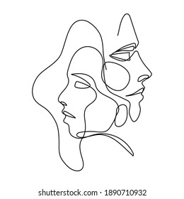 Continuous One Line Drawing. Couples Portrait. One line Abstract Portrait. Minimalist Portrait Design. Contour Face Abstract Wall Art Poster. Raster copy.