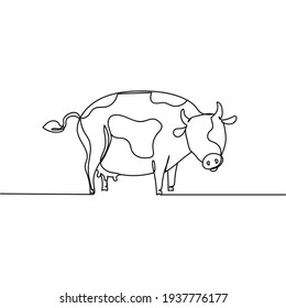 Continuous one line drawing of cow. Minimal style. Perfect for cards, party invitations, posters, stickers, clothing. Animal concept.