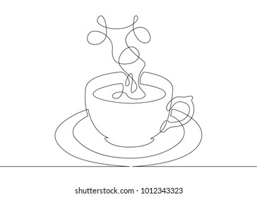 Continuous one line drawing cup of coffee