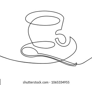 continuous one line drawing - a cup of coffee with a teaspoon in modern minimalistic style, vector illustration