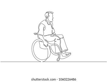 Continuous one line drawing. Disabled man on wheelchair enjoy with moving. Vector illustration total editable, choose thickness and place of line