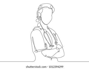 Continuous one line drawing doctor with stethoscop