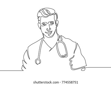 Continuous one line drawing of a doctor is a therapist's doctor in a medical uniform and a stethoscope.