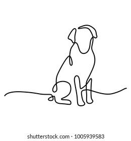Continuous one line drawing of a dog