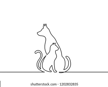 Continuous one line drawing. dog and cat logo. Black and white vector illustration.