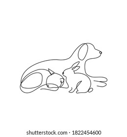 Continuous one line drawing. dog, cat and bunny logo. Pet shop design. One line art vector illustration.