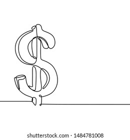 Continuous one line drawing dollar money isolated on white background vector illustration minimalism