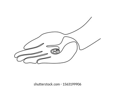Continuous one line drawing of dollar coin on the palm hand vector minimalism.