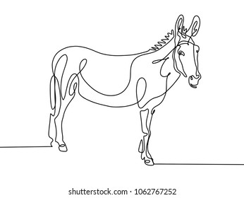 continuous one line drawing of donkey in modern minimalistic style, mono line vector illustration