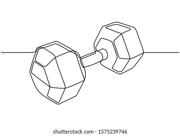 Continuous one line drawing of dumbbell