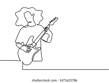 Continuous one line drawing of electric guitar player minimalism design