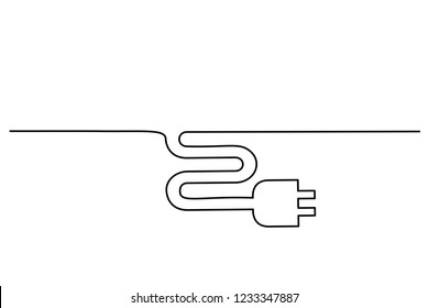Continuous one line drawing. Electrical plug icon on white background. Vector illustration for banner, web, design element, template, postcard.