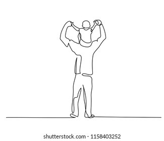 Continuous one line drawing. Family concept. Small boy is sitting on his father shoulders. Vector illustration