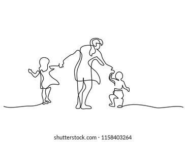 Continuous one line drawing. Family concept. Mother walking with small children. Vector illustration