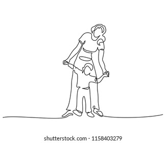 Continuous one line drawing. Family concept. Mother walking with small son. Vector illustration