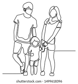 continuous one line drawing of family standing together vector illustration minimalist concept people theme.
