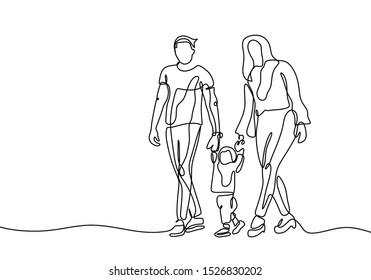 Continuous one line drawing of family vector, Concept of father, mother, and son. Parents help their kid walking.