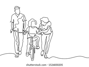 Continuous one line drawing of Family share with love. Father and mother help their kid to ride the bicycle.