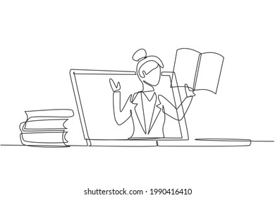 Continuous one line drawing female teacher is teaching, half of her body is out of laptop screen and beside her is pile of books. internet class. Single line draw design vector graphic illustration