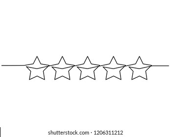 Continuous one line drawing. Five stars customer product rating review icon. Vector illustration