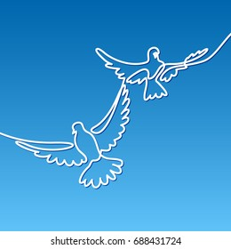 Continuous one line drawing. Flying two pigeons logo. White on blue gradient background vector illustration. Concept for logo, card, banner, poster, flyer