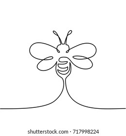 Continuous one line drawing. Flying bee logo. Black and white vector illustration. Concept for logo, card, banner, poster, flyer