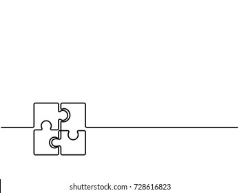 Continuous one line drawing of four pieces of jigsaw on white background. EPS10 vector illustration for banner, template, poster, backdrop, web, app. Black thin line of puzzle icon.