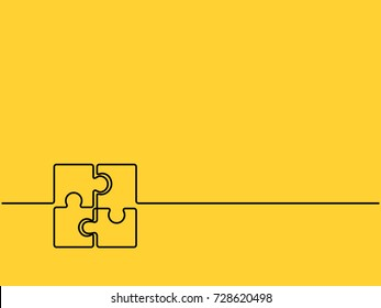 Continuous one line drawing of four pieces of jigsaw on yellow background. EPS10 vector illustration for banner, template, poster, backdrop, web, app. Black thin line of puzzle icon.