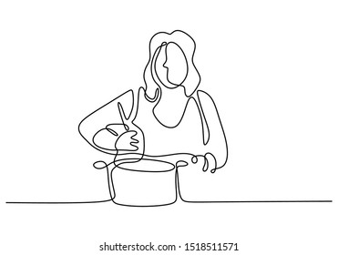 continuous one line drawing Girl cooking food vector illustration. Woman enjoy making foods.