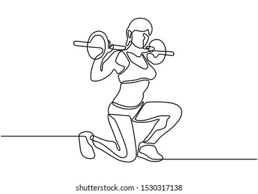 Continuous one line drawing of girl workout with lifting barbells during a weightlifting session at gymnasium. Pretty woman doing squat sport theme.