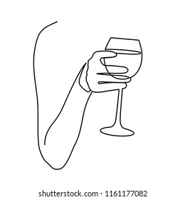 Continuous one line drawing glass of wine in hand toasting on white background. Vector illustration.