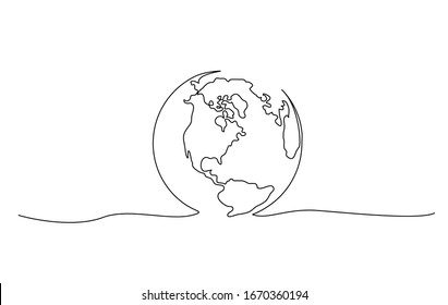 Continuous one line drawing. Globe of the Earth. Map side of America. Vector illustration