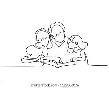Continuous one line drawing. Grandmother reading book with her grandchildren. Vector illustration