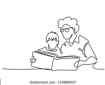 Continuous one line drawing. Grandmother sitting with grandson and reading book story. Vector illustration