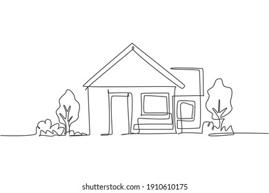 Continuous one line drawing of green little house with garden trees at village. Nature home architecture hand drawn minimalist concept. Modern single line draw design vector graphic illustration