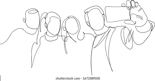 Continuous one line drawing of group people selfie. Man and women taking a picture with smartphone to capture moment vector minimalism simplicity design. Group photo one line vector drawing.