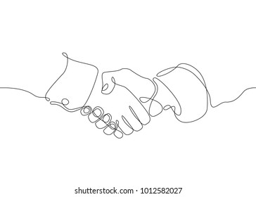 Continuous one line drawing hand palm fingers gestures. Business concept deal deals handshake.