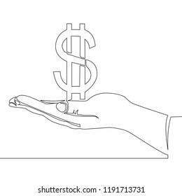 Continuous one line drawing of hand hold dollar sign Thin line money concept vector illustration
