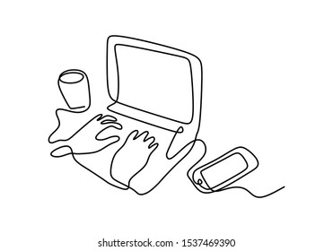 Continuous one line drawing of hand typing on laptop with smartphone and cup of coffee on the desk. Concept of working area creative and writer thinking to brainstorming an idea.