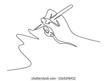 Continuous one line drawing of hand writing minimalism style. Fingers holding ink pen or pencil to draw or write on paper.