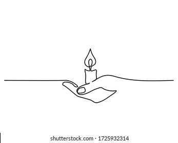 Continuous one line drawing. Hand holding burning candle. Vector illustration.
