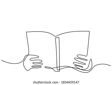 Continuous one line drawing of hand holding a book. People's hand holding open book with blank pages mockup first person view isolated image hand-drawn outline on white background. Minimalism style