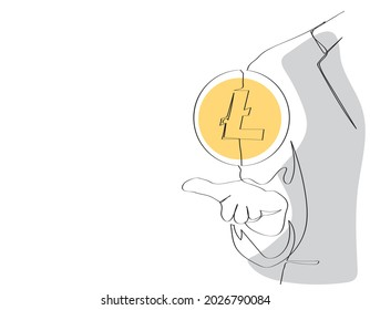 Continuous one line drawing. Hand holding abstract   Litecoin (LTC). Cryptocurrency and e-commerce concept.