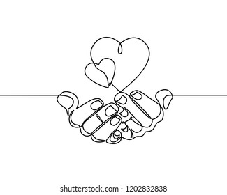 Continuous one line drawing. hands holding heart on white background.  Black thin line of hand with heart image.