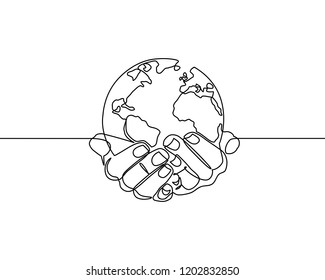 Continuous one line drawing. hands holding Earth globe.