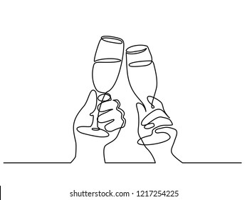 Continuous one line drawing. Hands cheering with glasses of champagne. Vector illustration